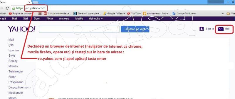 0Deschidere browser si cautare yahoo