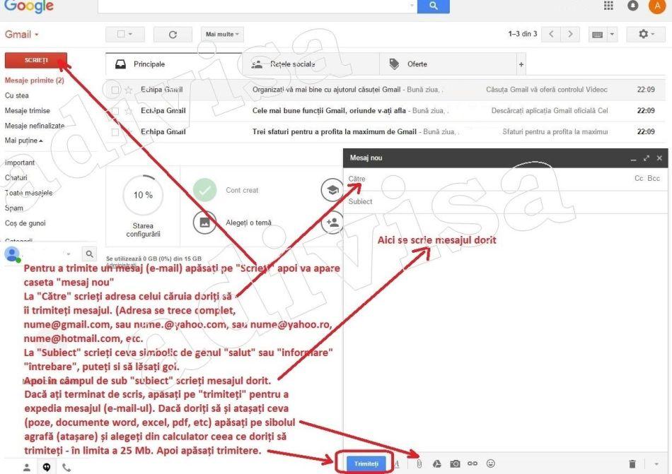 7.Creare gmail trimitere mesaj