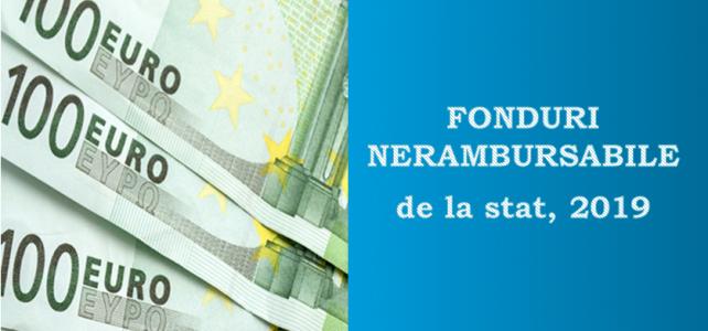 Fonduri nerambursabile de la stat, în 2019